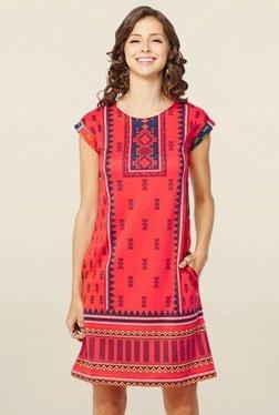 Global Desi Coral Printed Shift Dress