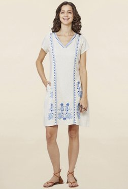 Global Desi Off White Embroidered Shift Dress