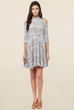 AND Grey Textured Skater Dress