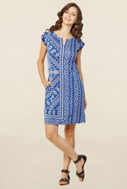 Global Desi Blue Printed Shift Dress