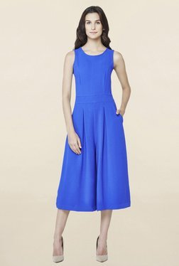 AND Ink Blue Solid Culottes Jumpsuit