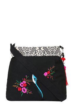 Pick Pocket Black Bird Embroidered Sling Bag