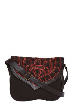 Pick Pocket Dark Brown Embroidered Sling Bag