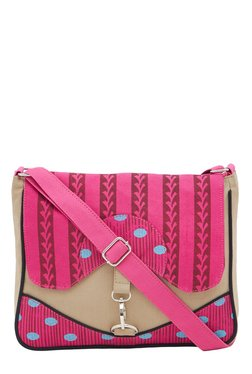 Pick Pocket Beige & Pink Printed Sling Bag