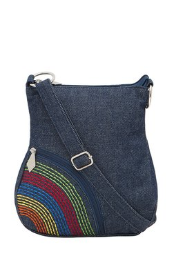 Pick Pocket Denim Blue Embroidered Sling Bag