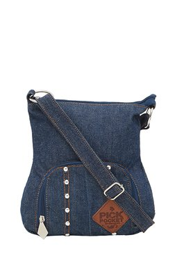 Pick Pocket Denim Blue Riveted Sling Bag