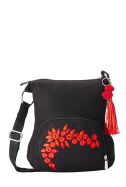 Pick Pocket Black Floral Embroidered Sling Bag