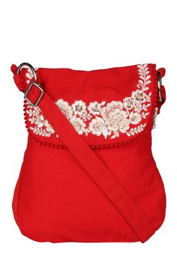 Pick Pocket Red Floral Embroidered Sling Bag