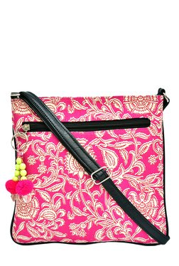 Pick Pocket Pink & Beige Printed Sling Bag