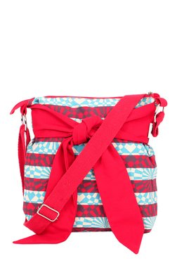 Pick Pocket Red & Blue Striped Sling Bag