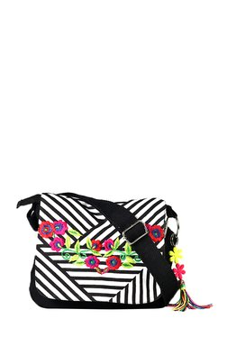 Pick Pocket Black & White Embroidered Sling Bag