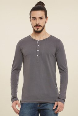 Rigo Grey Slim Fit Full Sleeves Henley T-Shirt