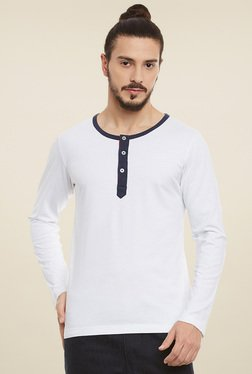 Rigo White & Navy Slim Fit Henley T-Shirt