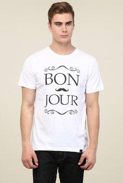 Rigo White Round Neck Printed T-Shirt