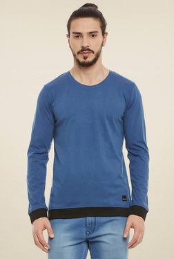 Rigo Aqua Blue & Black Full Sleeves Henley T-Shirt