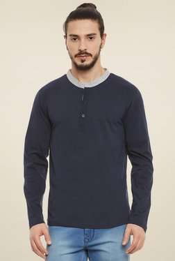 Rigo Navy Slim Fit Henley T-Shirt
