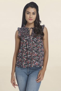 Only Navy Floral Print Top