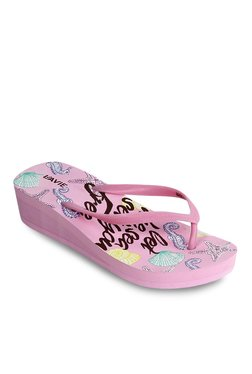 Lavie Pink & Green Wedge Heeled Flip Flops