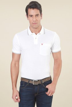Allen Solly White Regular Fit Cotton Solid T-Shirt