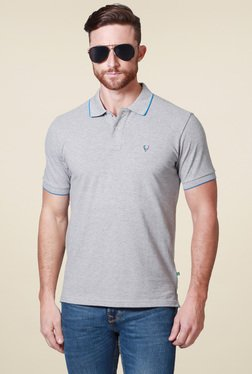 Allen Solly Grey Slub Regular Fit Polo T-Shirt