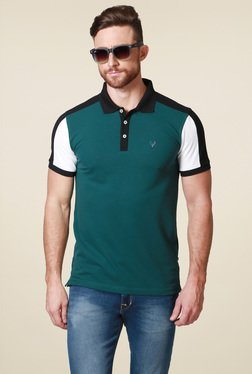 Allen Solly Green & Black Regular Fit Polo T-Shirt