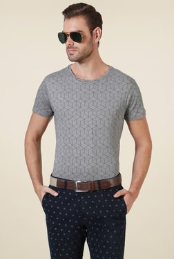 Allen Solly Grey Slim Fit Crew Neck T-Shirt
