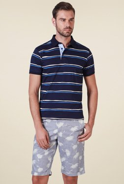 Allen Solly Navy Half Sleeves Striped Polo T-Shirt