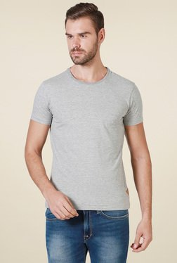 Allen Solly Grey Crew Neck Slim Fit T-Shirt