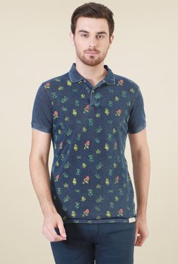 Allen Solly Navy Printed Polo Printed T-Shirt