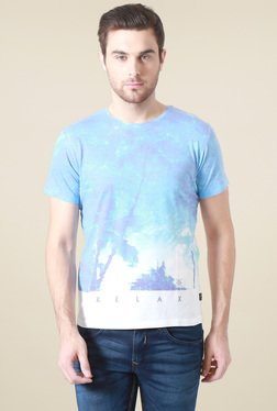 Allen Solly Sky Blue & White Printed T-Shirt