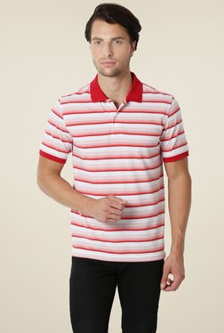 Peter England Red Solid Half Sleeves Polo T-Shirt