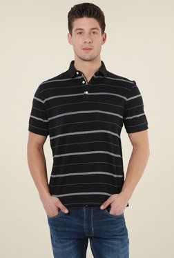 Peter England Black Striped Cotton Polo T-Shirt