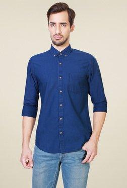 Peter England Royal Blue Button Down Collar Cotton Shirt