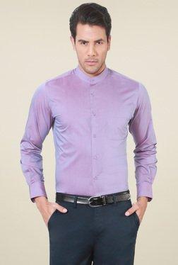 Peter England Lavender Slim Fit Band Collar Shirt