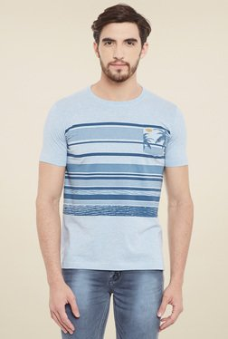 Duke Sky Blue Striped Regular Fit T-Shirt
