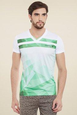 Duke White & Green Printed Half Sleeves T-Shirt