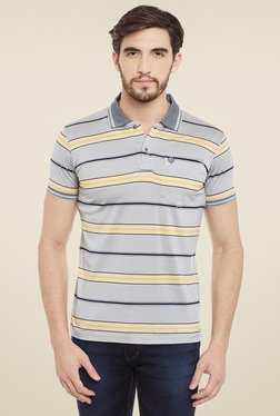 Duke Grey Striped Regular Fit T-Shirt