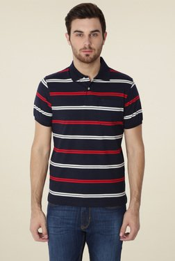 Peter England Navy Half Sleeves Striped Polo T-Shirt