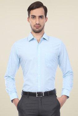 Peter England Light Blue Regular Fit Printed Shirt