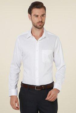 Peter England White Regular Fit Printed Shirt