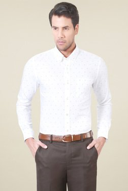 Peter England White Full Sleeves Button Down Collar Shirt