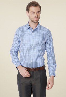 Peter England Blue Slim Fit Checks Shirt