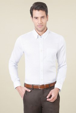 Peter England White Printed Button Down Collar  Shirt