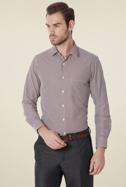 Peter England Black & Red Checks Slim Fit Shirt