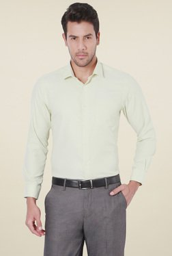 Peter England Tea Green Solid Shirt