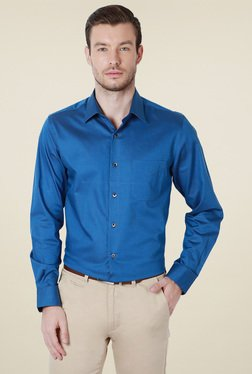Peter England Royal Blue Solid Full Sleeves Shirt