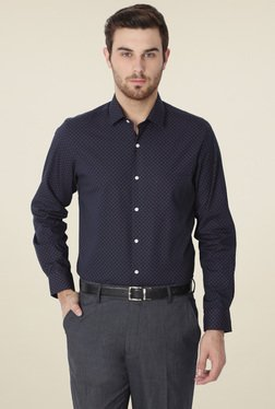 Peter England Navy Slim Fit Full Sleeves Cotton Shirt