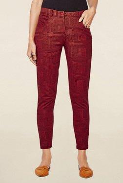 Global Desi Maroon Geometric Print Cropped Pant
