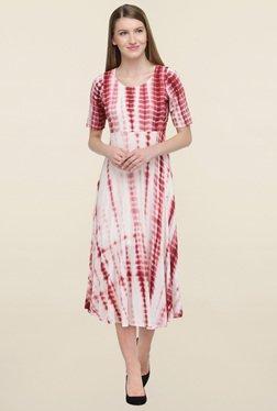 Magnetic Designs Beige & Maroon Tie Dye Dress