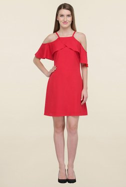 Magnetic Designs Red Above Knee Dress